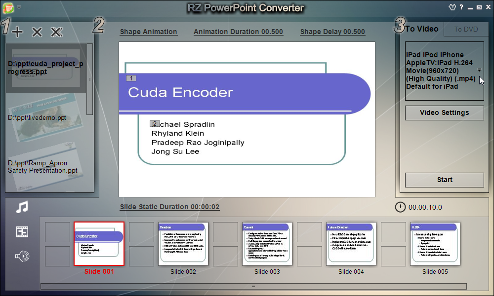 Windows 7 RZ PowerPoint To Video Converter 5.01 full